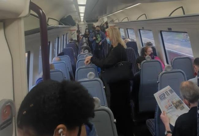 Travellers forced to stand on a train to Rowley Regis