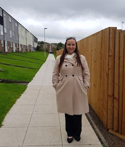 Councillor Laura Taylor on the Tanhouse estate near where one of the demolished pods used to be