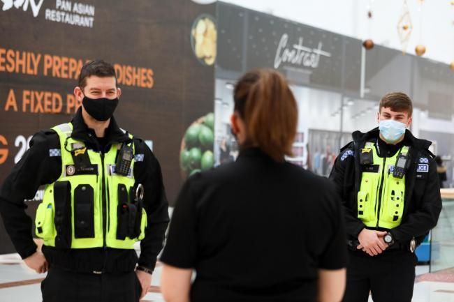 Police officers from Brierley Hill on patrol during the lockdown at Merry Hill. Pic by Shaun Fellows / Shine Pix Ltd