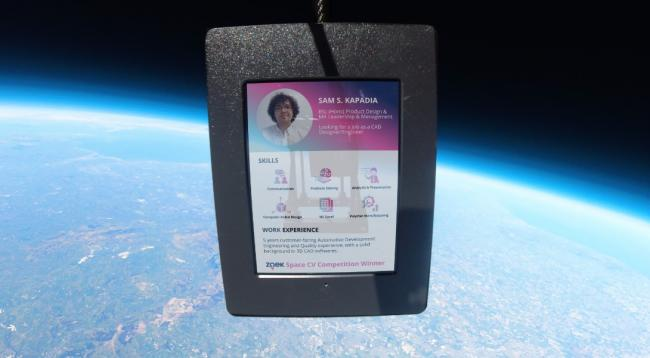 Pic: A mock-up of Sam Kapadia's CV, which was sent into space