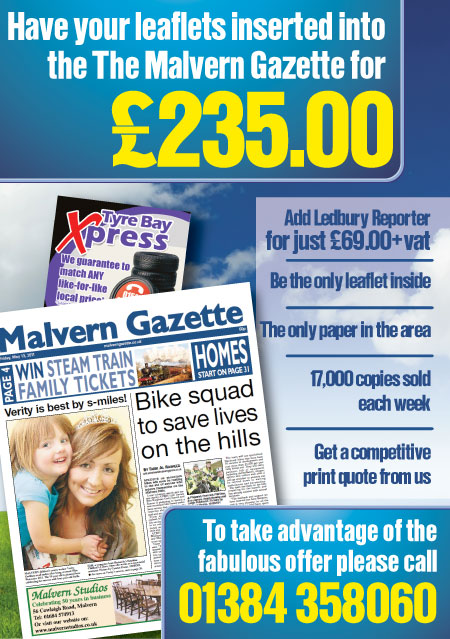 Malvern Gazette leaflet insert in newspaper.