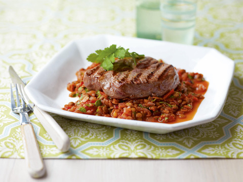 Lamb with spiced Lentils