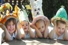 Easter bonnet competition winners Demi Bentley, aged five, Max Johnson, aged three, Sienna Pearson, aged three, and Harry Seadon, aged five. (buyphoto 141227L)