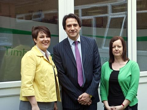 James Morris MP with Hayley Walker and Janine Sargent at Timbertree Primary School