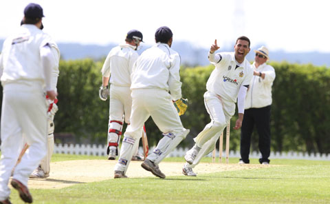 Himley's Ashfak Hussein celebrates a wicket on Saturday but the day ended in disappointment PHOTO BY AARON MANNING