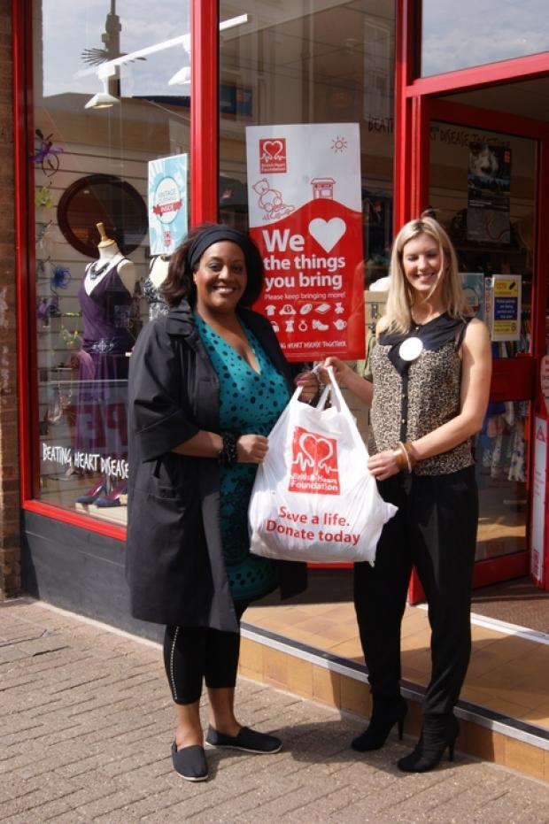 Alison Hammond with BHF Halesowen shop manager Emma Thomas.