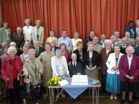 Harry Williams celebrates his 100th birthday with his friends and family in Quinton.