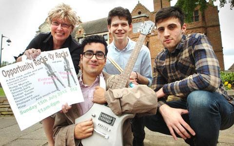 Haden Hill Museum assistant Anne Willets with Holocene members Bishan Davies, Benedict Campbell and Marcello Sanzari (buyphoto 291227L).