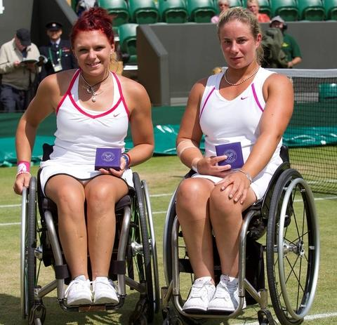 Jordanne Whiley and Lucy Shuker with their runners-up trophies at Wimbledon (Photo: Tommy Hindley)