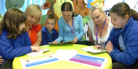 Brickhouse Primary parents and children share learning (from left) Donna-Caitlin Deeley, aged 10, parent Marie Richards, Hayden Langston, aged seven, parents Lucy Stokes and Donna Branch and 11-year-old Charlotte Weston. (To buy:311206K)
