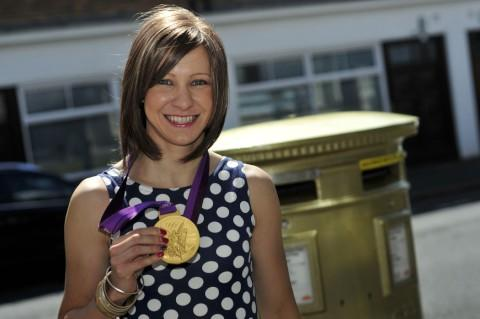 Jo Rowsell visits her gleaming post box in Cheam