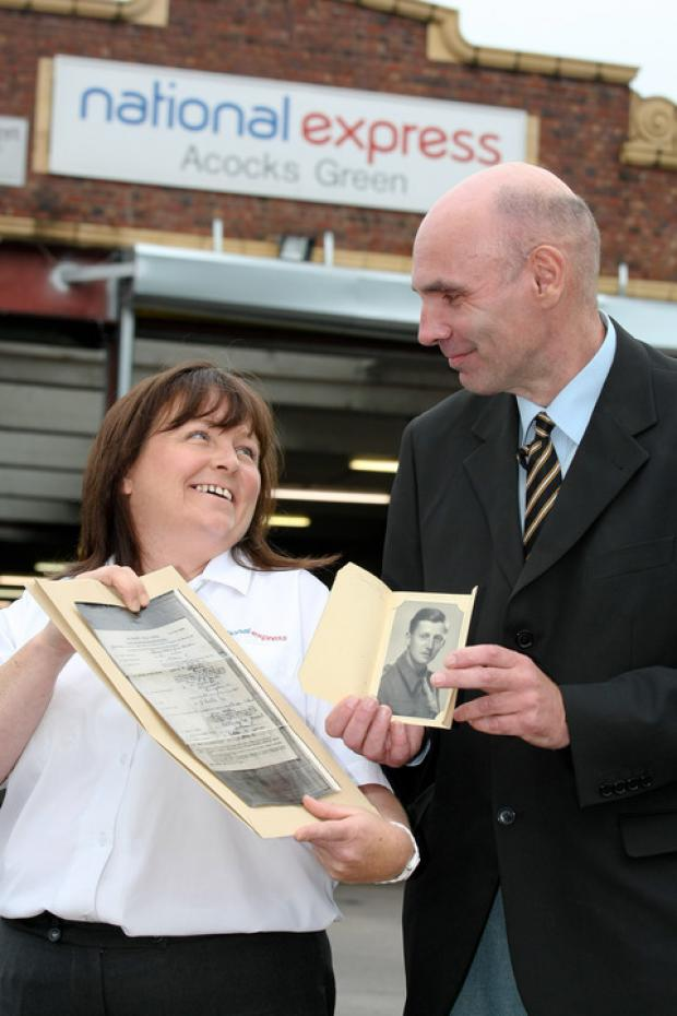 Christine McDaid and David Hall with the will and only surviving photo of Pte Gordon Heaton.