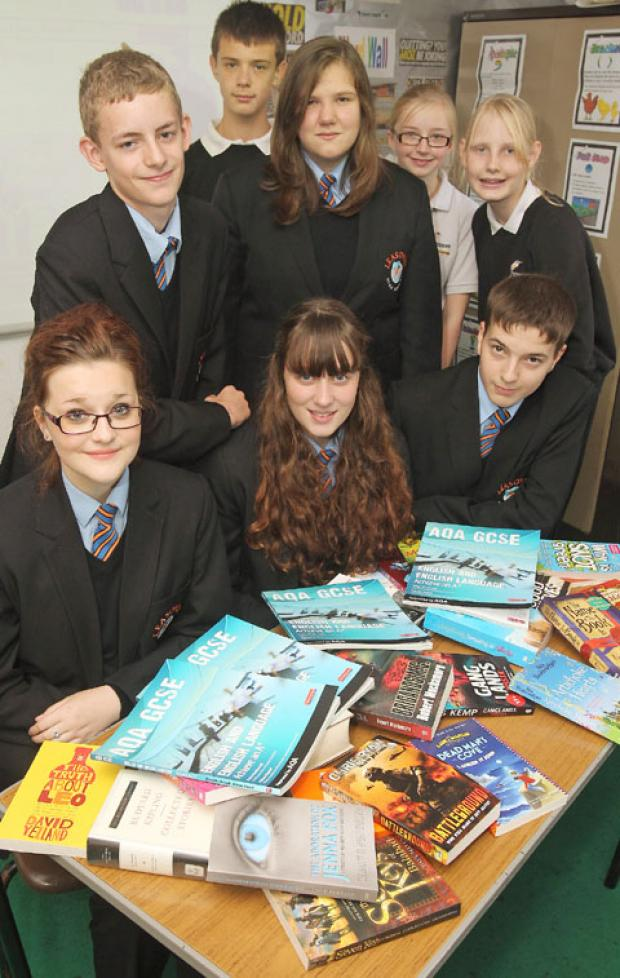 Leasowes students (back from left) Aiden Hall (12), Owen Tracey (13), Lucy Bate (14), Sophie Loone (12) and Rebecca Harris (13). (Front from left) Jeni-May Hadley (13), Emily Withers (14), Ben Pountney (14) (To buy:401215J)