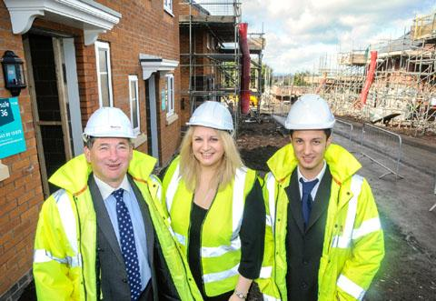 Mark Grady, commercial director MarCity, Kate Lloyd, Sandwell Council services manager homes and community and Nathan Deen, Bromford development surveyor at the Carnegie Road development. (buyphoto 431207MH)