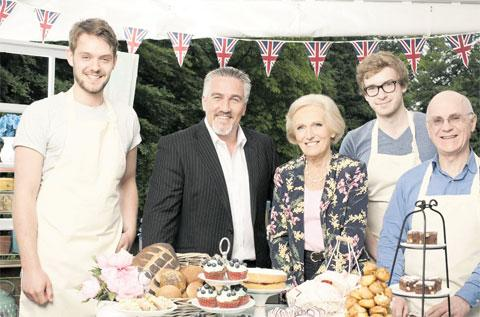 Bake Off's Brendan (pictured far right) to judge Merry Hill cakes tomorrow
