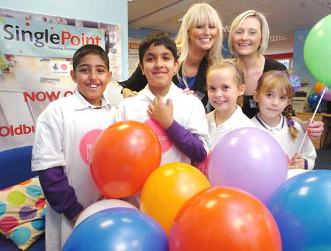 Community involvement managers Eve Loveridge and Lisa Harrison with pupils Isa Hussain, Jai Salarna, Olivia Griffiths and Madison Griffiths. (To buy:451233L)