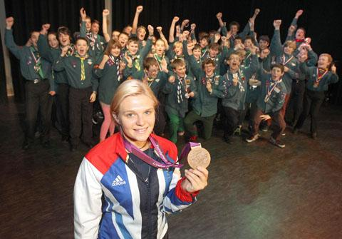 Paralympic bronze medallist Jordanne Whiley with the Halesowen Scout medal winners.