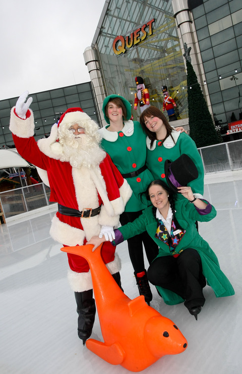 Santa and his elves take to the ice to celebrate the opening of Merry Hill's new skating rink and 5D