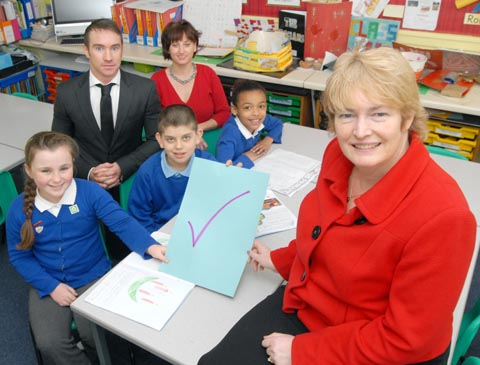 Headteacher Clare McNally (front) with deputy headteacher Daniel Boyle, assistant headteacher Beth Marley and pupils Laura Houghton, aged nine, David Redford and Ciara Whitty, both aged 10. (To buy:501249M)