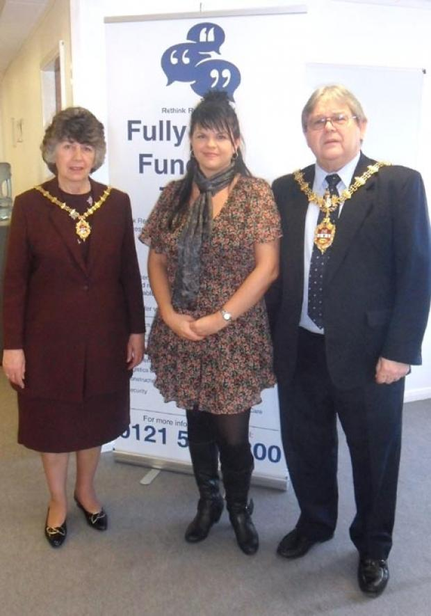 Dudley Mayoress Michelle Mottram, (left) with Rethink Resources founder Gail Wood and Mayor Melvyn Mottram.
