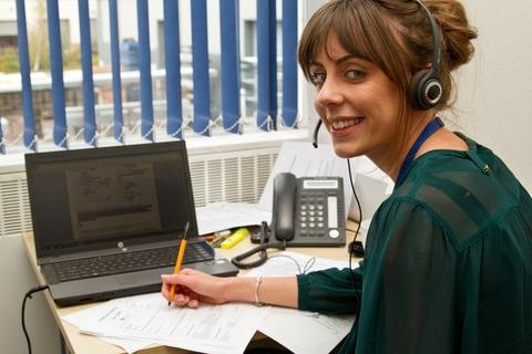 Sandwell Mind employee Hayley Doherty manning the new telephone help line.