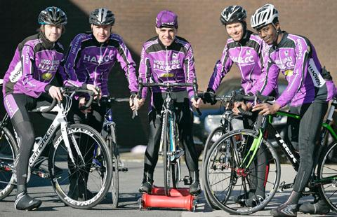 READY TO ROLL: Matt Clarke (centre) with fellow Halesowen riders Charles Walker, Keith Weavin, Anthony Walsh and Lee Buckley.
