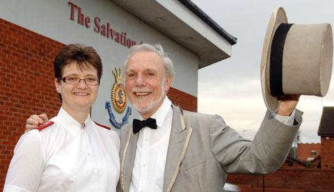 Cradley Heath Salvation Army captain Liz Hancock with Andy Peddle.