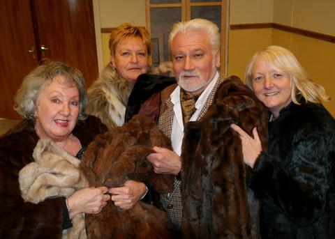 It's a fur cop - from left Janet Grant as Dame Beatrice, Lin Robinson as Nanette, Guy Radforth as Brigadier Rayne and Sally Worley as Lady Alice.
