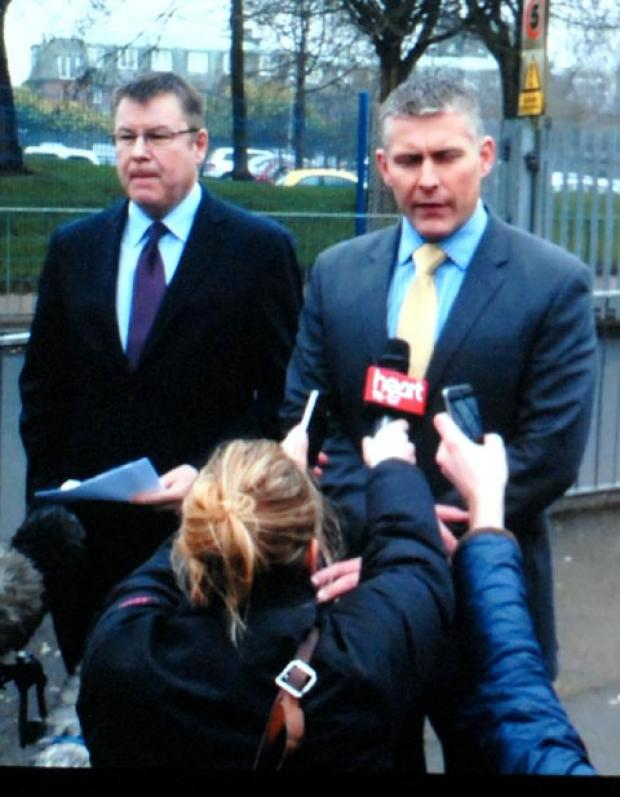 Det Supt Rich Baker from West Midlands Police (right) with Leasowes headteacher Neil Shaw.