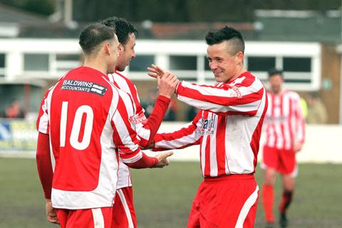 Ben Mackey (right) celebrates against Weymouth