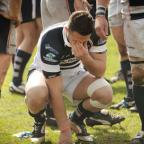 Sam Baker struggles to hide his disappointment at Saxons' play-off defeat.