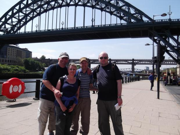 Ken Kirton, wife Angela, Nick Bagshaw and Malcolm Reay in Newcastle at the end of their walk.