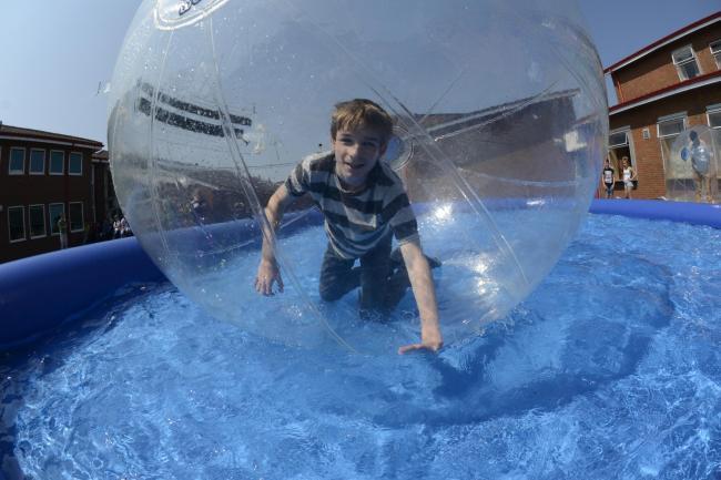 Philip Watson, aged 14, trying zorbing at the school.