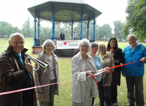 L-r  Cllr David Sparkes (chairman of the Friends of Quarry Bank Park), Jean Richards (Friends of the Park), Val Wellings, Lynne Homer-Davies, Sue Lee, Ishrat Karim (Dudley Council), Cllr Bryan Cotterill. Buy photo: 301338M