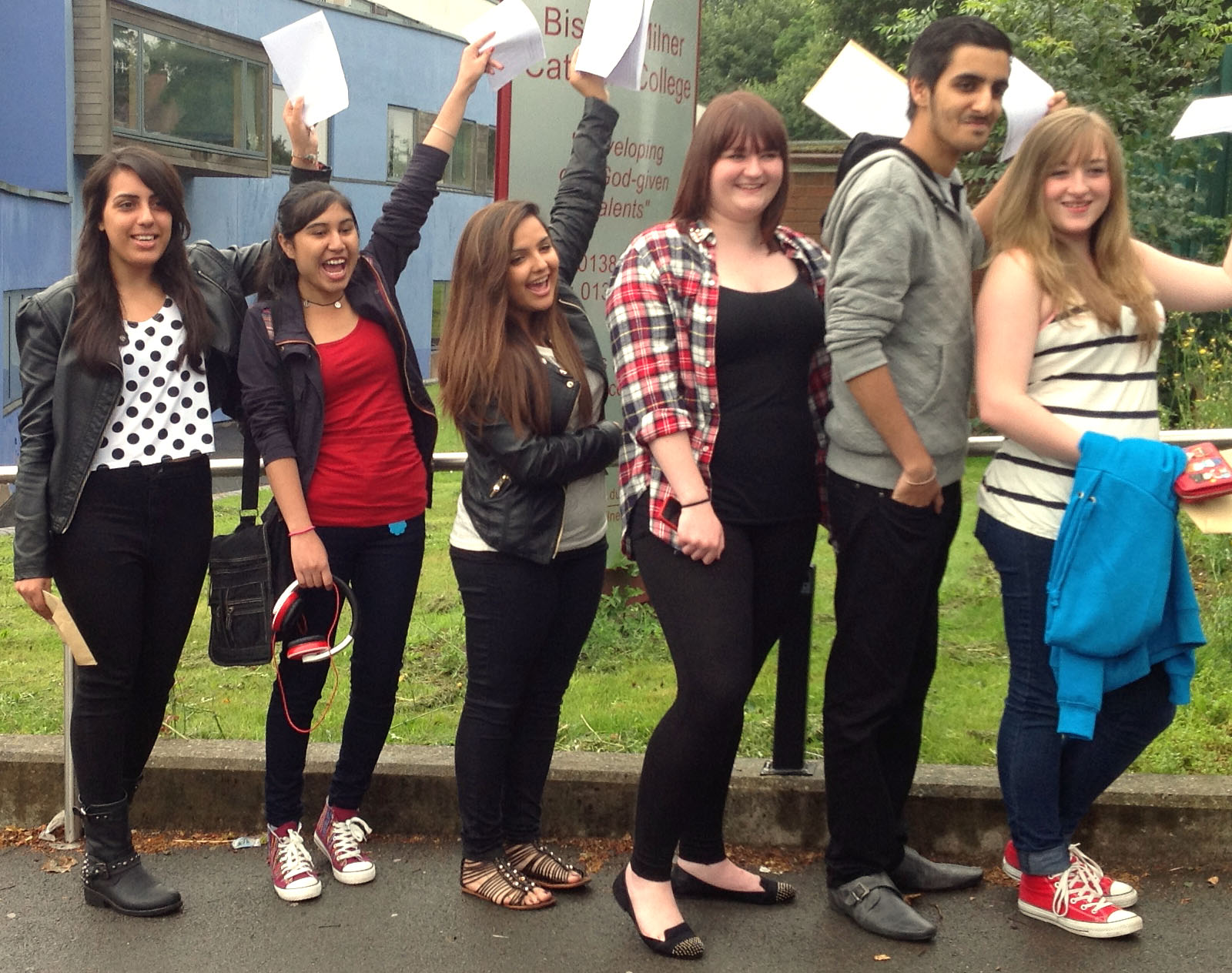 Students at Bishop Milner Catholic school celebrating their results