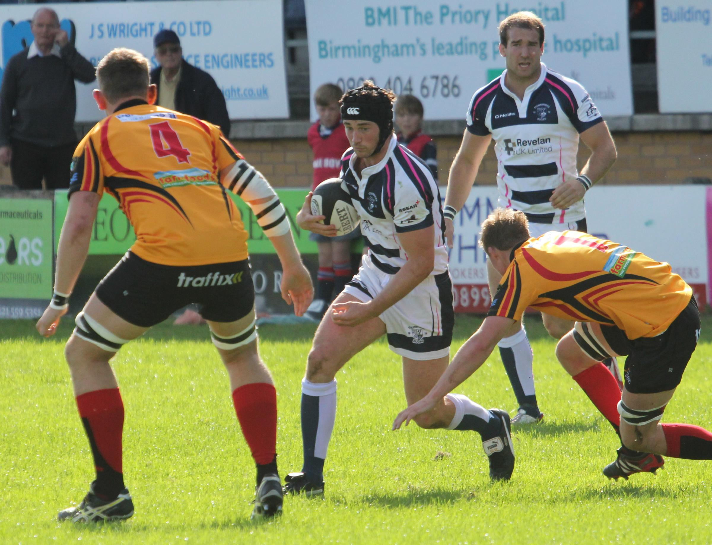 James Rodley looks for a way through Birmingham and Solihull's defence