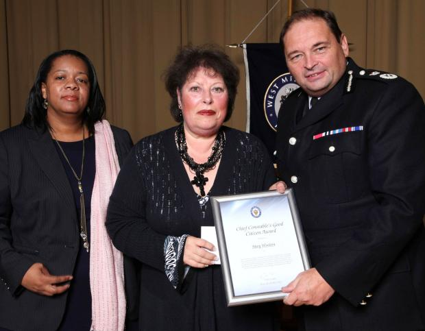 Mary Woolvin with chief constable Chris Sims and deputy police and crime commissioner Yvonne Mosquito.