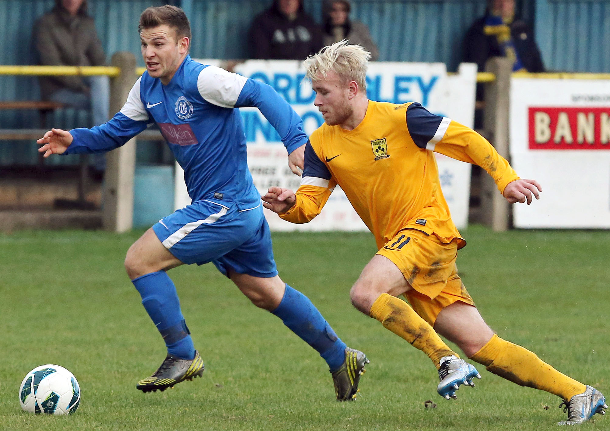 Causeway (in the blue) clash with league leaders Tividale