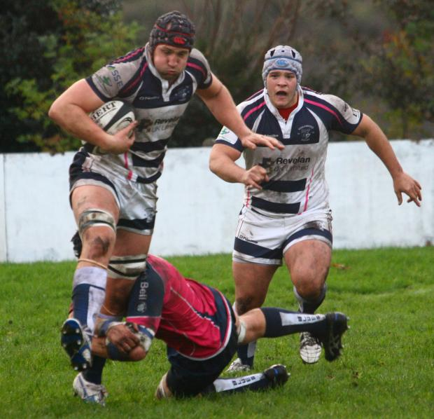 Stourbridge second row Ben Hughes goes on the charge during the 19-16 defeat to Macclesfield - picture: Ceri Davies