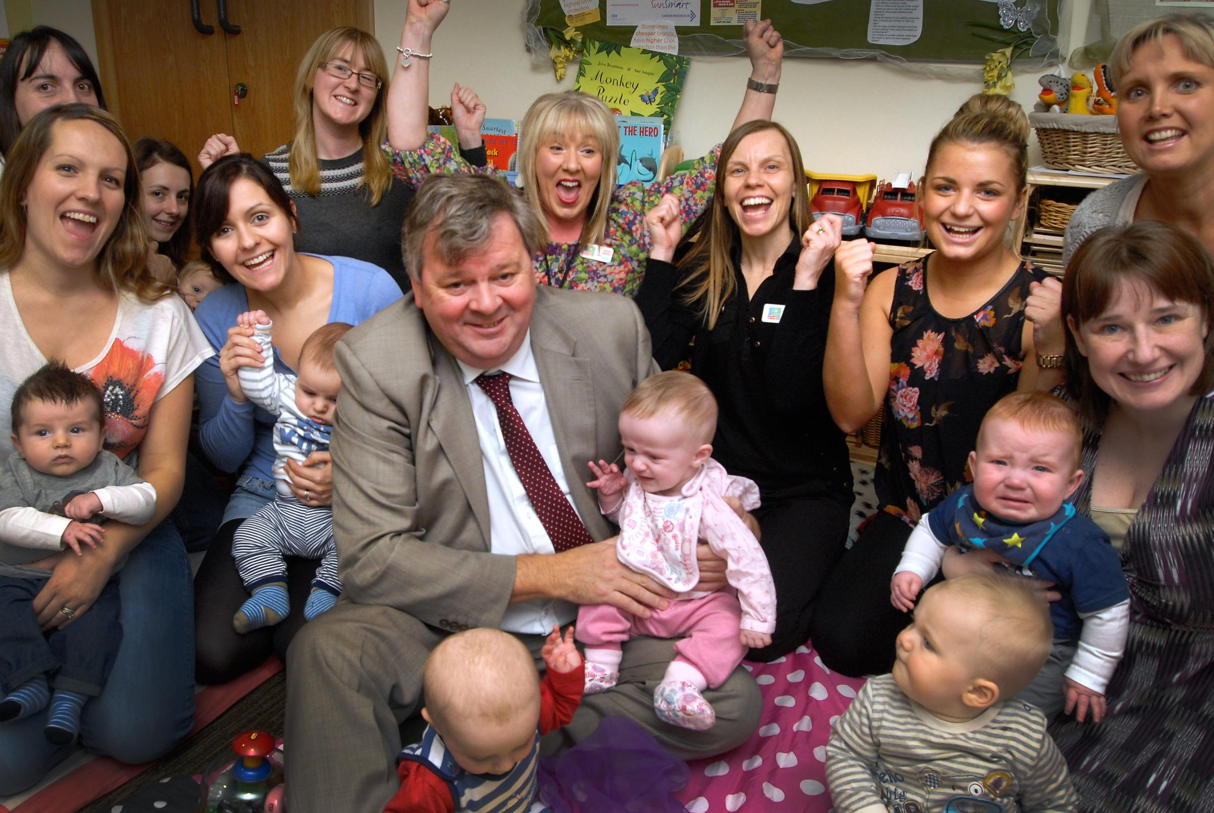 Cllr Tim Crumpton with staff, mums and toddlers at Peter's Hill Children's Centre. Buy photo: 481351L