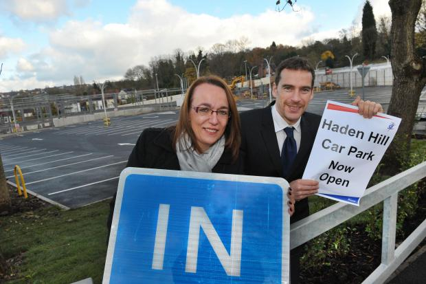 Parking paradise: SLT's chairperson, Lois Taylor, and Haden Hill Leisure Centre manager, Stuart Winslow, open the new car park.