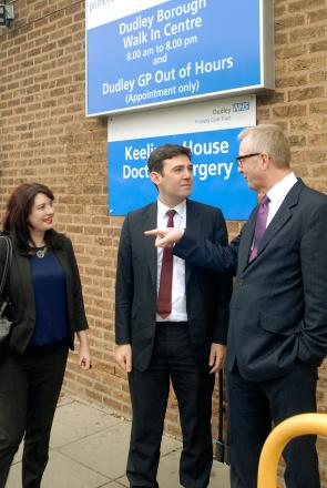 L - r Natasha Millward - Labour's prospective parliamentary candidate for Dudley South, Labour shadow health minister Andy Burnham, Dudley North MP Ian Austin. Buy photo: 491304L