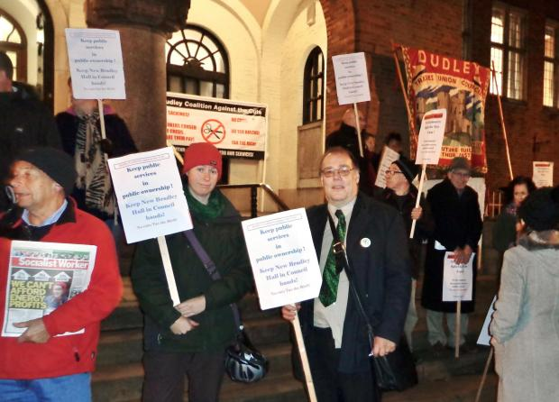 Coalition Against Cuts campaigners take their fight to Dudley Council House