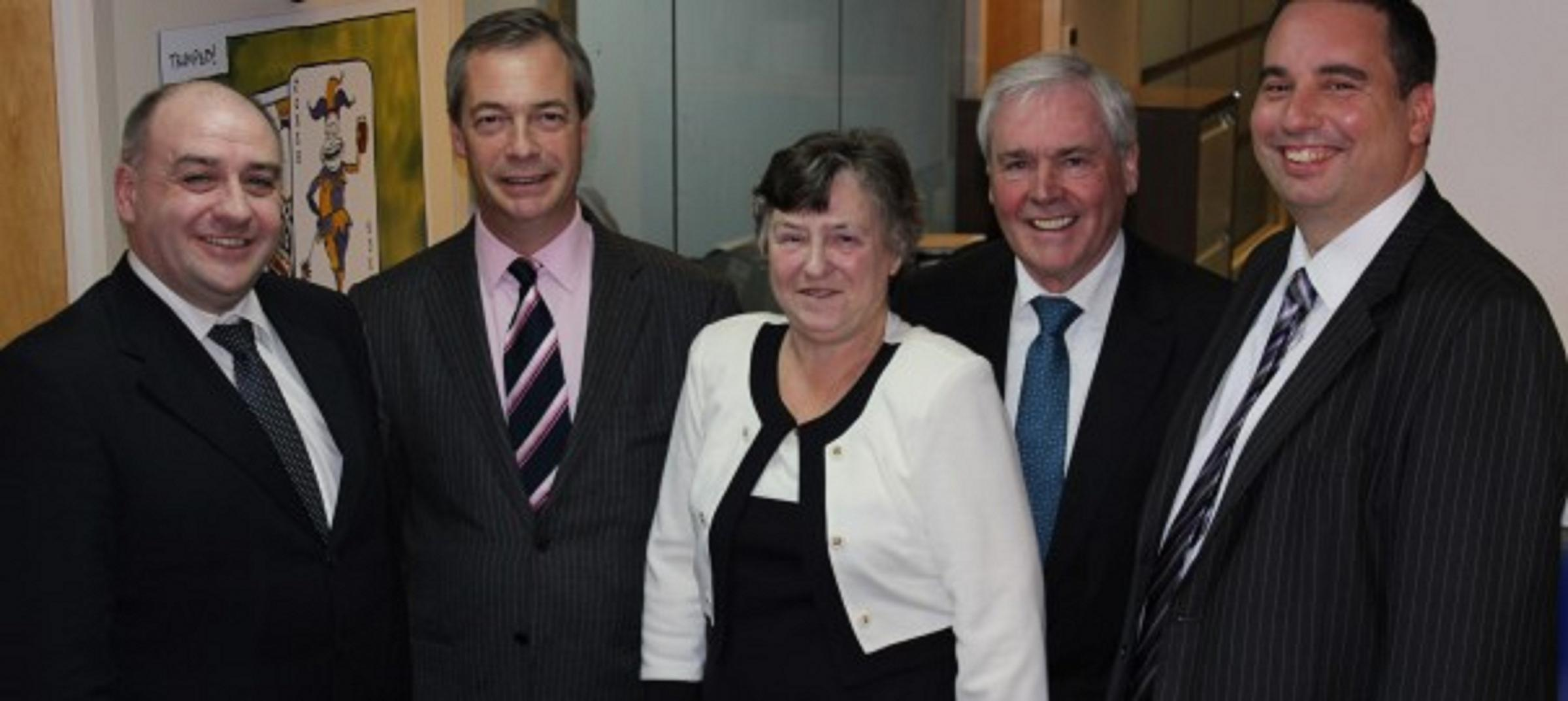 Adrian Turner, UKIP leader Nigel Farage, Ken and Hazel Turner and Bill Etheridge