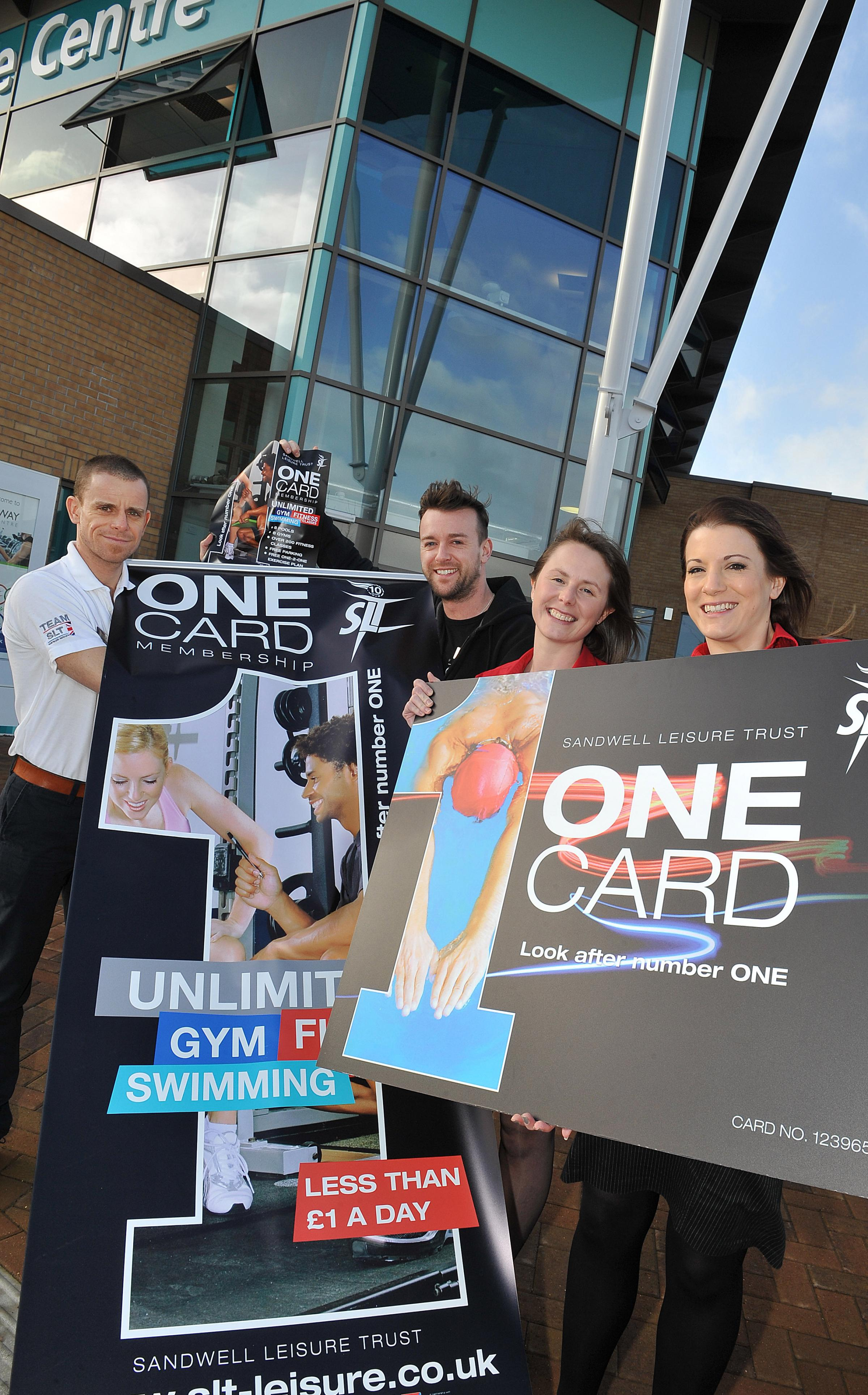 Portway Lifestyle's gym team Kevin Daly and Scott Parish with Sandwell Leisure Trust's Lisa Richards and Catherine Furnival launch the new fitness sessions.
