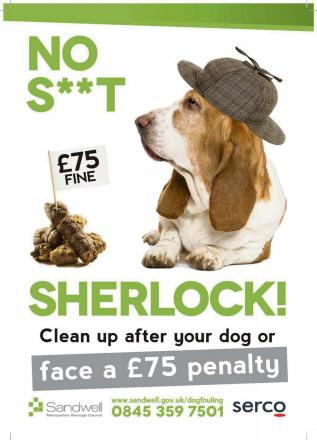 Sandwell Council's poster aims to shock dog owners into cleaning up after their pooches.