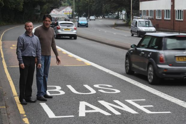 Nick Gregory shows Halesowen and Rowley Regis MP James Morris the unused bus lane.