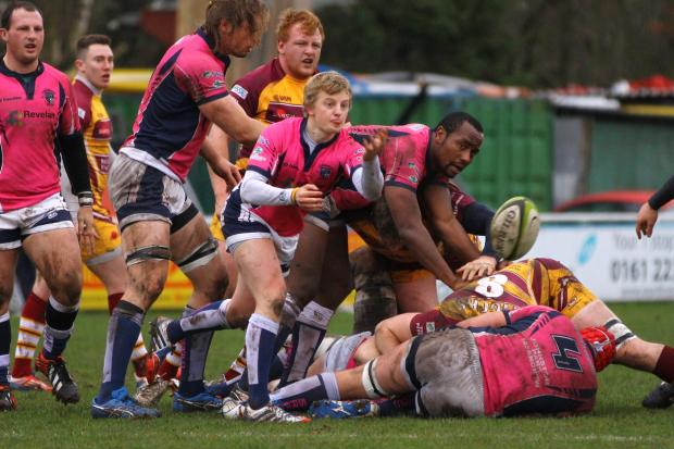 Stour scrum half Pete White gets the ball moving during the super success at Sedgley Park