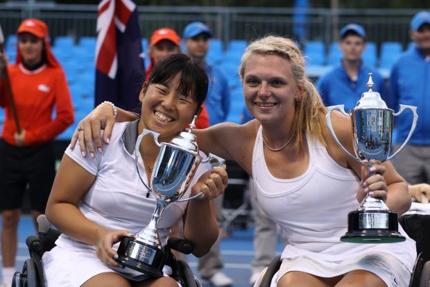 Halesowen's Jordanne Whiley celebrates her Grand Slam success with doubles partner Yui Kamiji
