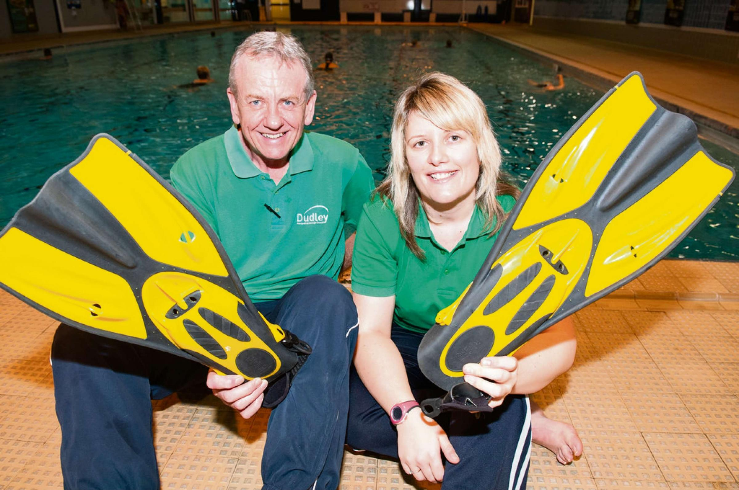 Steve Lloyd and Gemma Staples get ready for the new exercise class